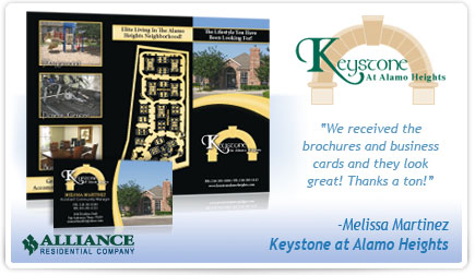 Keystone at Alamo Heights Brochure and Business Card Testimonial